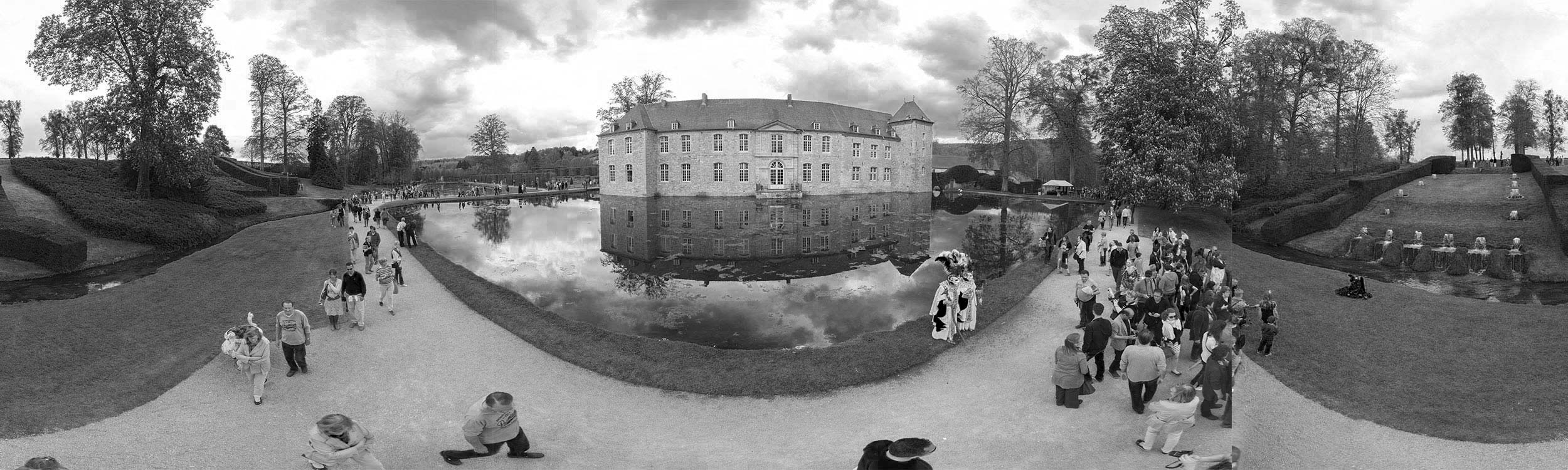 Jardin annevoie visite virtuelle 360 carnaval hainaut black and white