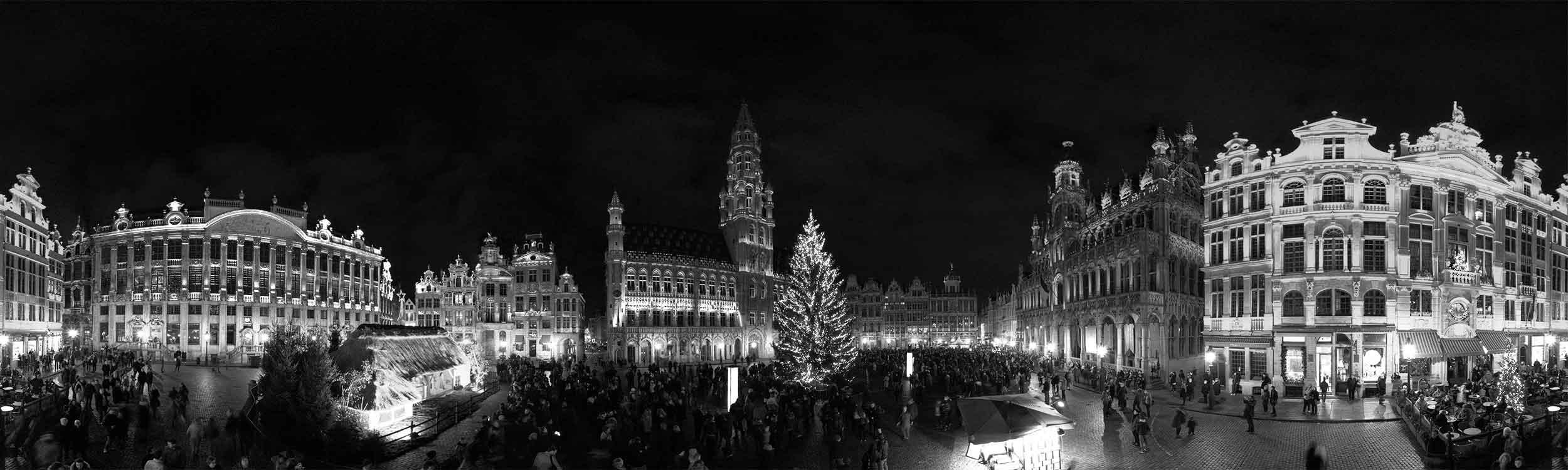Grand place Bruxelles visite virtuelle nouvel an 360 black and white